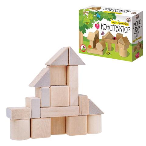 Конструктор деревянный, 17 элементов, неокрашенный,
