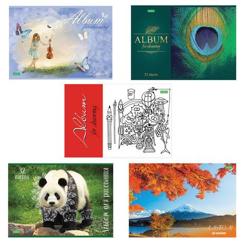 Альбом для рисования, А4, 32 листа, скоба, обложка картон, HATBER