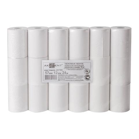 Рулоны для кассовых аппаратов, термобумага, 57х24х12 (24 м), комплект 18 шт., AKZENT