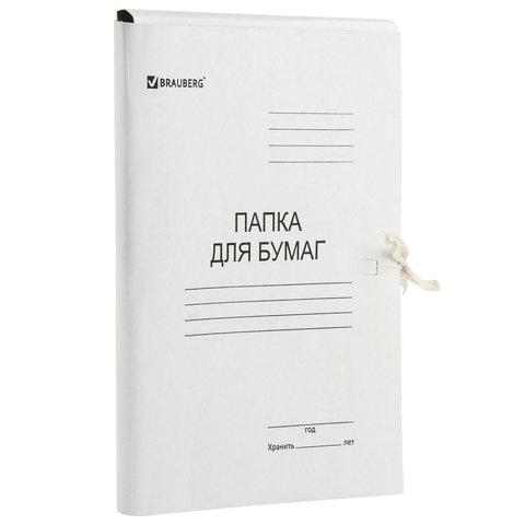 Папка для бумаг с завязками картонная мелованная BRAUBERG, 440 г/м2, до 200 листов
