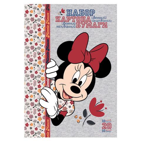 Набор цветного картона и бумаги А4 мелованные, 10+10 листов, в папке, HATBER, 194х280 мм,