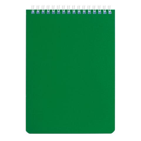 Блокнот А5, 60 л., гребень, перфорация на отрыв, лакированный, BRAUBERG, Зеленый, 145х212 мм, 111272