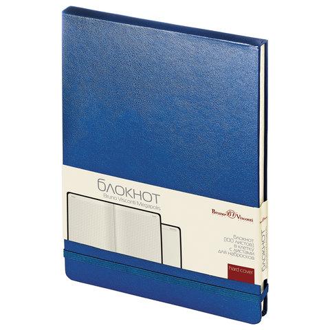 Блокнот А5 (144х212 мм), 100 л., твердая обложка, балакрон, открытие вверх, BRUNO VISCONTI, Синий, 3-103/01