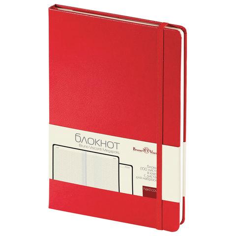 Блокнот А5 (142х214 мм),100 л., твердая обложка, балакрон, на резинке, BRUNO VISCONTI, Красный, 3-101/04