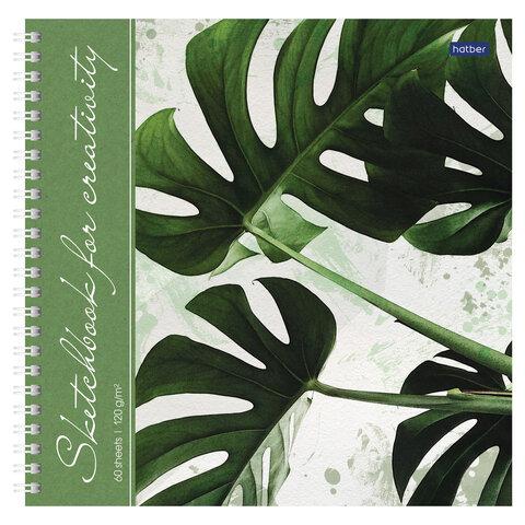 Скетчбук, белая бумага 120 г/м2, 210х210 мм, 60 л., гребень, твердая обложка,