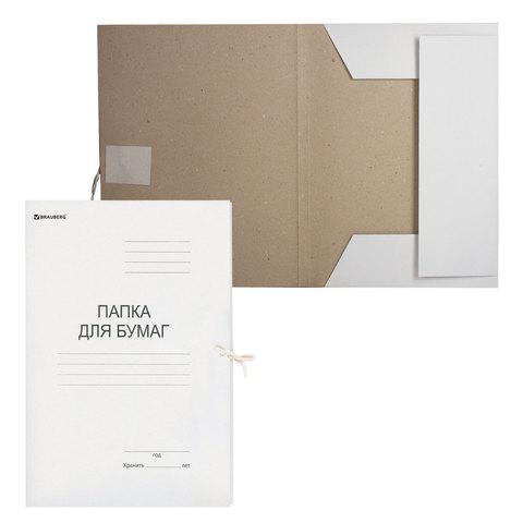 Папка для бумаг с завязками картонная BRAUBERG, гарантированная плотность 280 г/м2, до 200 л., 122292