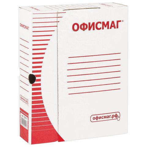 Короб архивный с клапаном А4 (260х325 мм), 75 мм, до 700 листов, плотный, микрогофрокартон, БЕЛЫЙ, ОФИСМАГ, 123017