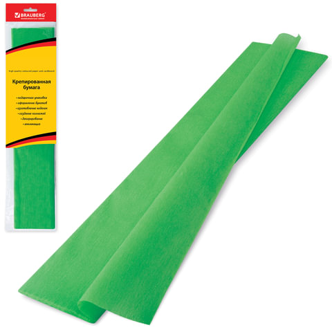 Цветная бумага крепированная BRAUBERG, стандарт, растяжение до 65%, 25 г/м2, европодвес, зеленая, 50х200 см, 124731