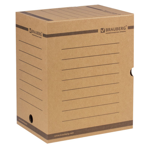 Короб архивный с клапаном А4 (260х325 мм), 200 мм, до 1800 листов, плотный, микрогофрокартон, BRAUBERG, 126510