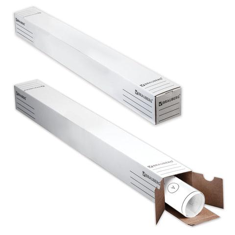 Тубус для чертежей с вырубным клапаном, микрогофрокартон, 750x75x75 мм, белый, BRAUBERG, 126516