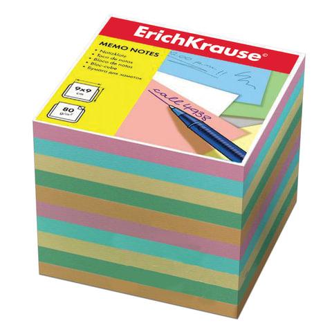 Блок для записей ERICH KRAUSE непроклеенный, 9х9х9 см, цветной, 5140