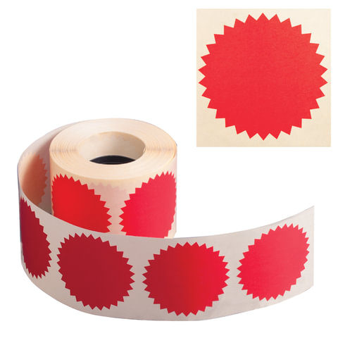 Наклейки для опечатывания любых документов, в том числе нотариальных (конгривки), 500 штук, 52 мм, красные