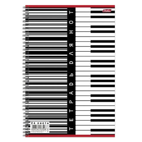 Тетрадь для нот А4, 24 л., HATBER, спираль, вертикальная,
