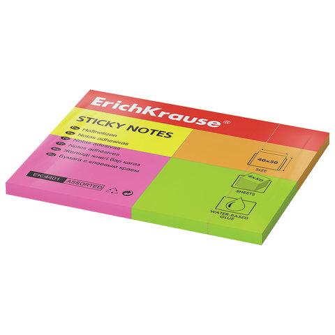 Закладки самоклеящиеся ERICH KRAUSE НЕОН бумажные, 40*50 мм, 4 цвета * 50 листов, 4401