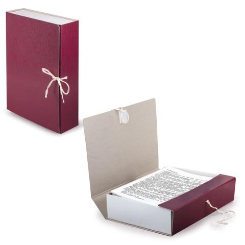 Короб архивный (240х330 мм), 80 мм, 2 завязки, бумвинил, до 700 листов, бордовый, STAFF, 126900