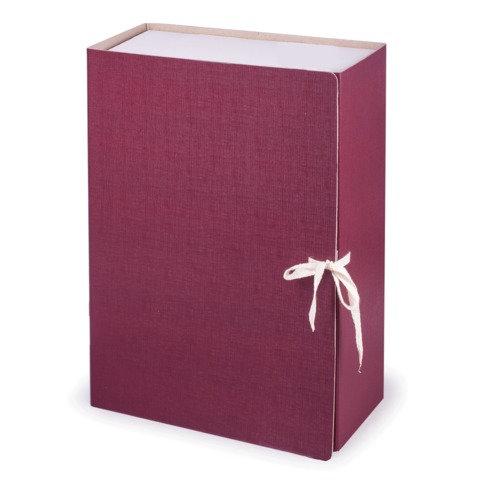 Короб архивный STAFF, 12 см, 100% покрытие бумвинил, 2 х/б завязки, до 1000 л., бордовый, 126901