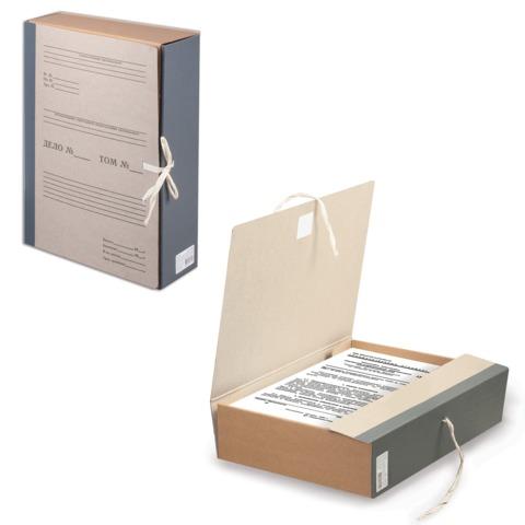 Короб архивный STAFF, 8 см, переплетный картон, корешок - бумвинил, 2 х/б завязки, до 700 л., 126902