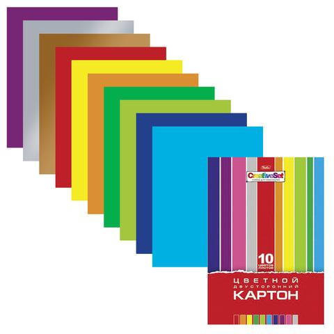 Картон цветной А4 2-сторонний МЕЛОВАННЫЙ, 10 листов 10 цветов, папка, HATBER, 195х280 мм, Creative, 10Кц4 05934, N138007