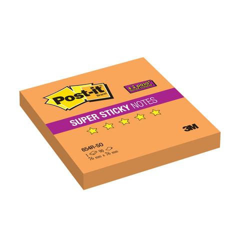 Блок самоклеящийся (стикер) POST-IT Super Sticky, 76х76 мм, 90 л., неоновый оранжевый, 654R-SO