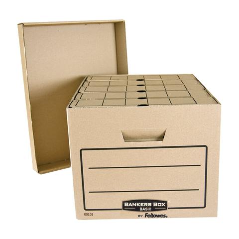 Короб архивный (445x270х335 мм), с крышкой, гофрокартон, FELLOWES (BANKERS BOX)