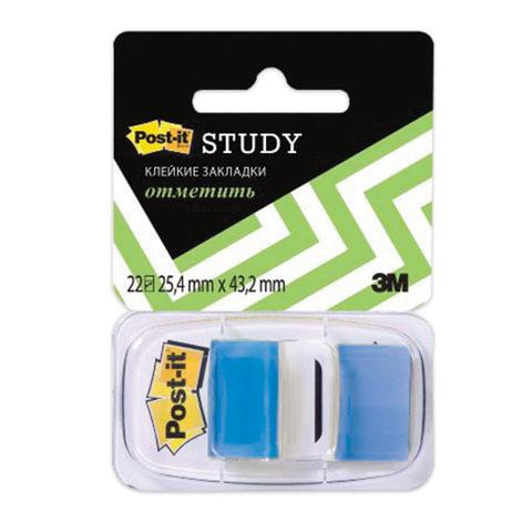 Закладки клейкие POST-IT Study, пластиковые, 25 мм, 22 шт., синие, 680-BB-LRU