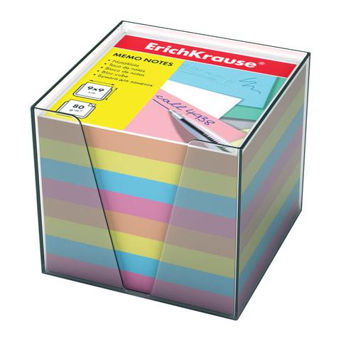 Блок для записей ERICH KRAUSE в подставке прозрачной, куб 9х9х9 см, цветной, 5142