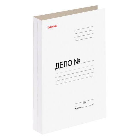 Скоросшиватель картонный мелованный ОФИСМАГ, гарантированная плотность 320 г/м2, белый, до 200 листов, 127820