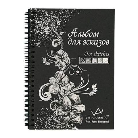 Альбом-скетчбук А4 (210х297 мм), черная бумага, 32 л., 150 г/м2, гребень, VISTA-ARTISTA, SBC