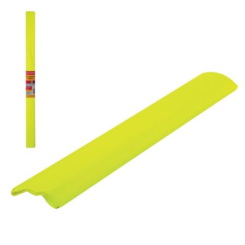 Цветная бумага крепированная флуоресцентная, растяжение до 25%, 22 г/м2, BRAUBERG, рулон, желтая, 50х200 мм, 127933