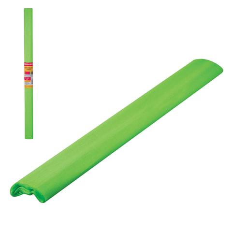 Цветная бумага крепированная флуоресцентная, растяжение до 25%, 22 г/м2, BRAUBERG, рулон, зеленая, 50х200 мм, 127934