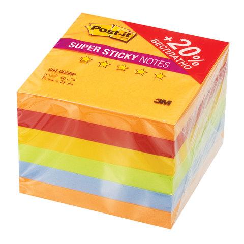 Блоки самоклеящиеся (стикеры), 76х76 мм, комплект 6х90 л., POST-IT Super Sticky,