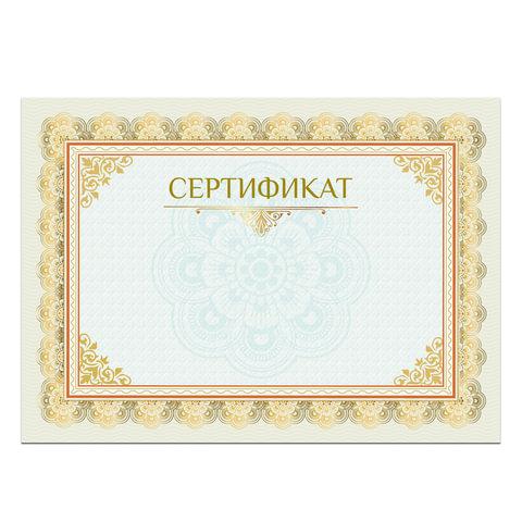Сертификат А4, горизонтальный бланк 2, мелованный картон, конгрев, тиснение фольгой, BRAUBERG, 128375