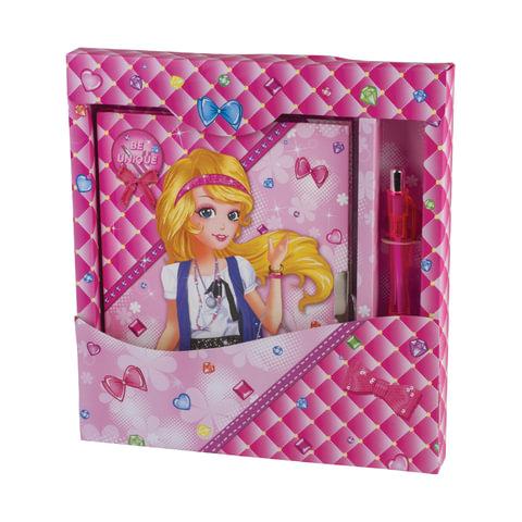 Блокнот А5 (130х175 мм), 56 л., твердый переплет, замок, ручка, подарочная упаковка, линия, BRAUBERG, Девочка, 128425