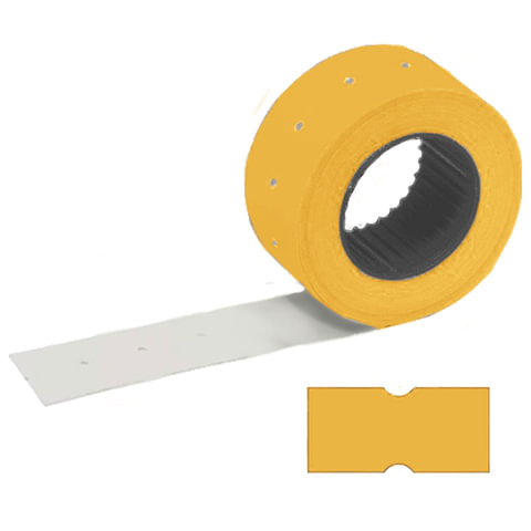 Этикет-лента 21х12 мм, прямоугольная, оранжевая, КОМПЛЕКТ 100 рулонов по 800 шт., STAFF, 128449