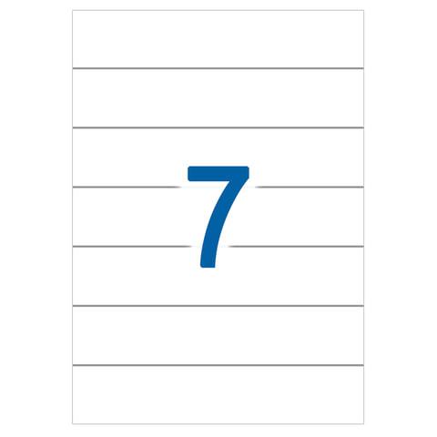 Этикетка самоклеящаяся 192х38 мм, 7 этикеток, белая, 65 г/м2, 50 л., STAFF, 128825