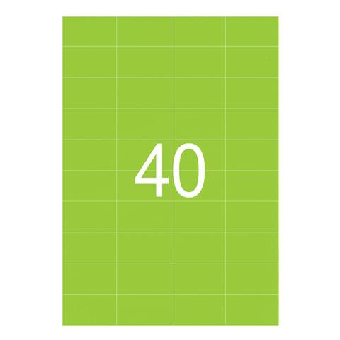 Этикетка самоклеящаяся 52,5х29,7 мм, 40 этикеток, неоново-зеленая, 65 г/м2, 50 листов, STAFF, 128839