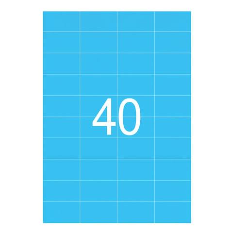 Этикетка самоклеящаяся 52,5х29,7 мм, 40 этикеток, неоново-голубая, 65 г/м2, 50 листов, STAFF, 128840