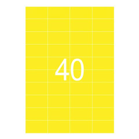 Этикетка самоклеящаяся 52,5х29,7 мм, 40 этикеток, неоново-желтая, 65 г/м2, 50 листов, STAFF, 128841