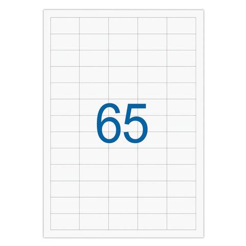Этикетка самоклеящаяся 38х21,2 мм, 65 этикеток, белая, 65 г/м2, 50 л., STAFF, 128843