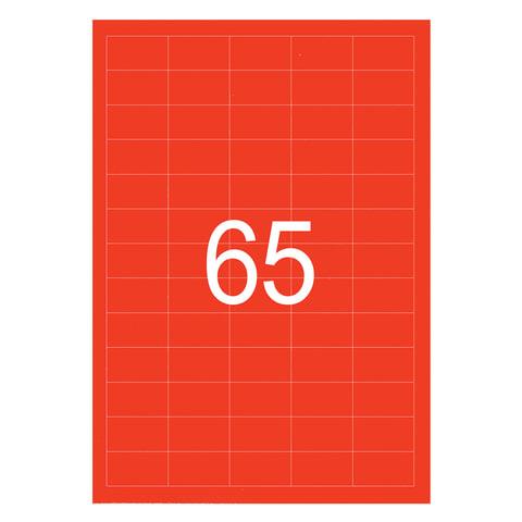 Этикетка самоклеящаяся 38х21,2 мм, 65 этикеток, неово-красная, 65 г/м2, 50 листов, STAFF, 128845