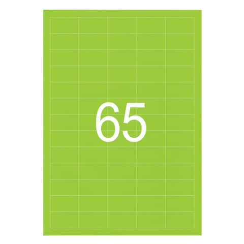 Этикетка самоклеящаяся 38х21,2 мм, 65 этикеток, неоново-зеленая, 65 г/м2, 50 листов, STAFF, 128846