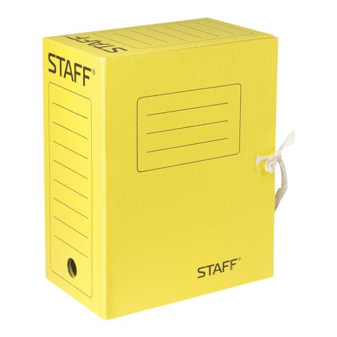 Папка архивная с завязками А4 (325х250 мм), 150 мм, до 1400 листов, микрогофрокартон, ЖЕЛТАЯ, STAFF, 128877