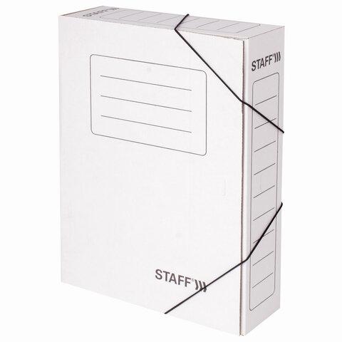Папка архивная с резинкой А4 (325х250 мм), 75 мм, до 700 листов, микрогофрокартон, БЕЛАЯ, STAFF, 128878