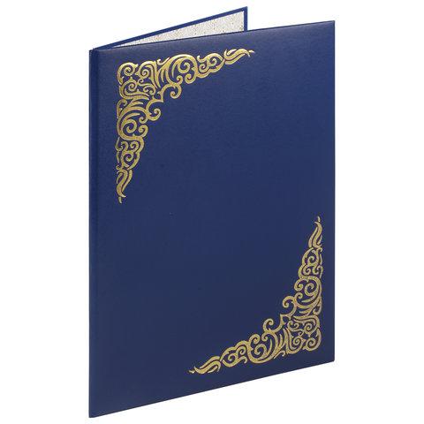 Папка адресная бумвинил с виньеткой, формат А4, синяя, индивидуальная упаковка, STAFF, 129582