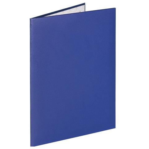 Папка адресная бумвинил синий, без надписей, формат А4, STAFF, 129635