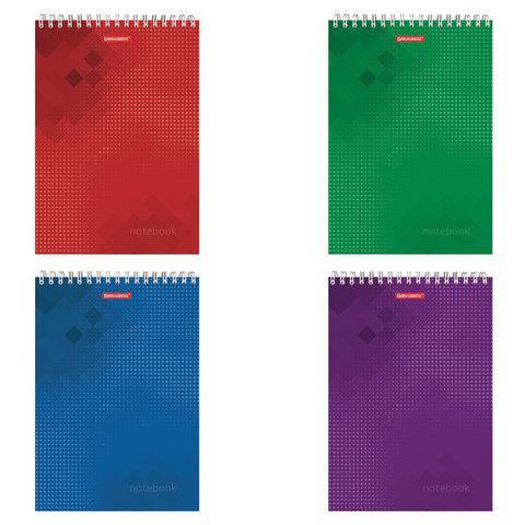 Блокнот БОЛЬШОЙ ФОРМАТ (200х290 мм) А4, 80 л., гребень, картон, жесткая подложка, клетка, BRAUBERG,