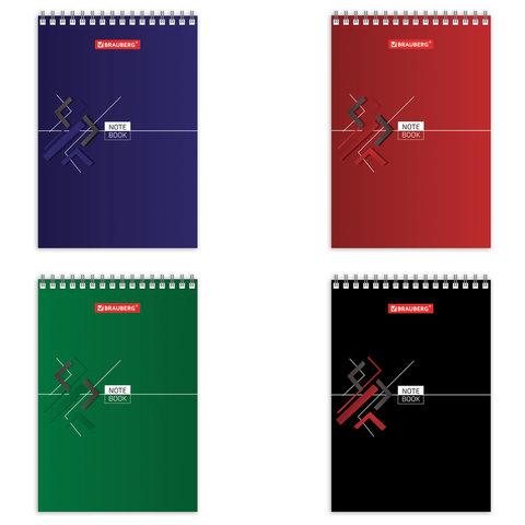 Блокнот МАЛЫЙ ФОРМАТ (97х145 мм) А6, 60 л., гребень, картон, клетка, BRAUBERG,