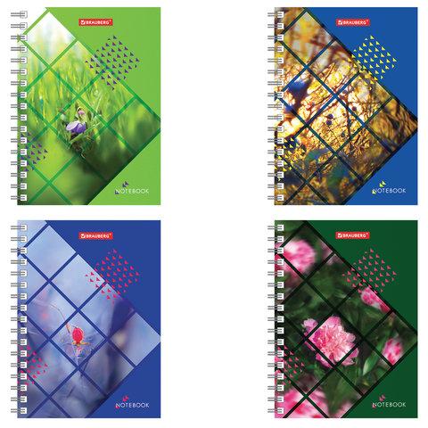 Записная книжка МАЛОГО ФОРМАТА (160х114 мм) А6, BRAUBERG, 80 листов, гребень, клетка,