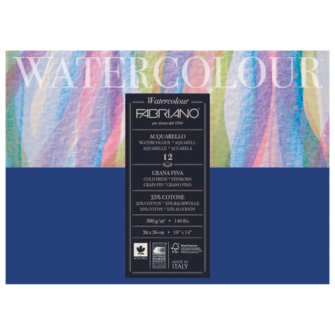 Альбом для акварели FABRIANO Watercolour Studio среднее зерно, 12 л., 300 г/м2, А3-, 260х360 мм, 17312636