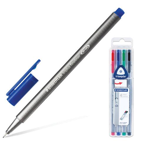 Ручки капиллярные STAEDTLER, набор 4 шт., трехгранные, толщина письма 0,3 мм, ассорти, 334 SB4